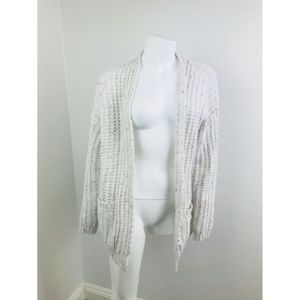 TILDON Small Sweater Cream Wool CableKnit Cardigan